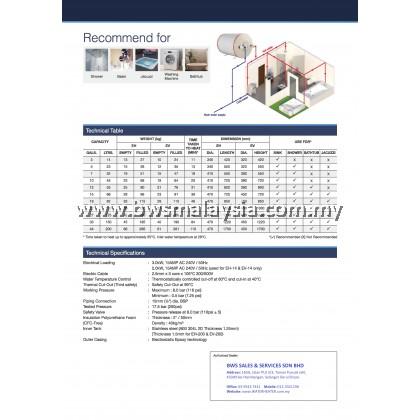 Elton EWH14R (EH-14) Storage Water Heater Malaysia - Elton 14 litres (14L) Horizontal Model
