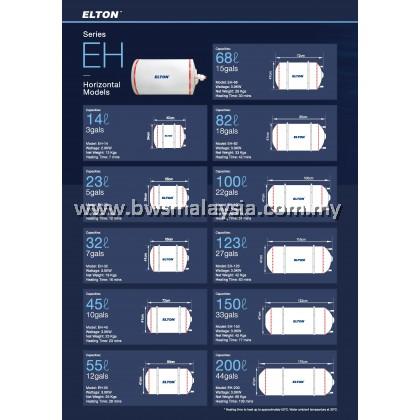 Elton EWH23R (EH-23) Storage Water Heater Malaysia - Elton 23 Litres (23L) Horizontal Model