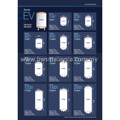 Elton EWH82 (EV-82) Storage Water Heater Malaysia - Vertical Model