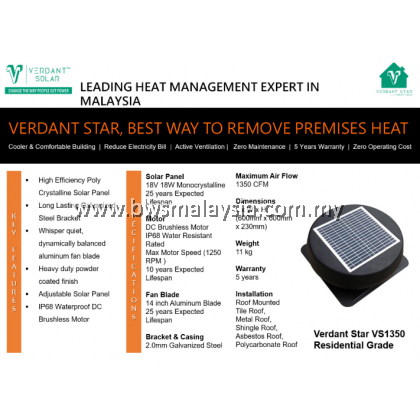 Verdant Star VS2050 Solar Ventilation System Malaysia