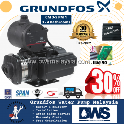 SolarMate SM 300-C + Grundfos CM3-5PM1 Water Pump (SolarMate With Installation, Grundfos Pump Supply ONLY) Purchase with purchase Waterco/ puregen Outdoor Filter with promotion price