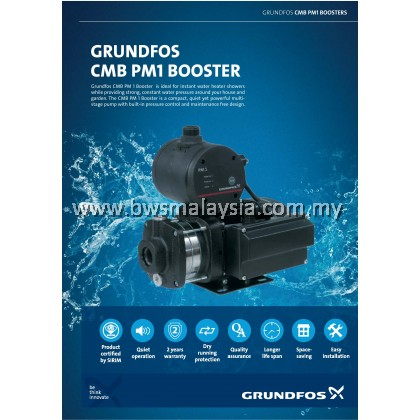 Grundfos CMB3-37PM1 (0.5HP) Water Booster Pump - Best Price Malaysia