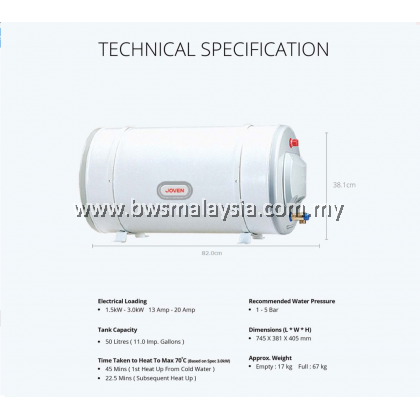 Joven JSH50 (50L) Storage Water Heater Price - Joven 50 litres