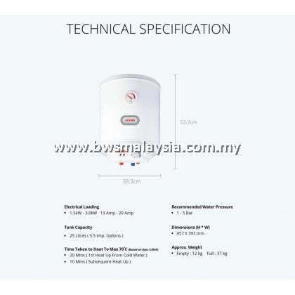 Joven JSV25 (25L) Storage Water Heater Price (Vertical) - Joven 25 Litres