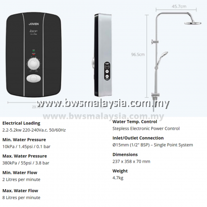 JOVEN Instant Water Heater SL30iP (RS) With Rain Shower | Inverter DC Pump
